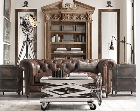 Industrial Chic Living Room With Metal And Gold Trend Spotting Heavy.