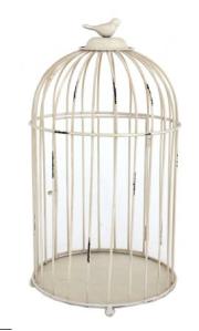 Vintage vibe cream bird cage