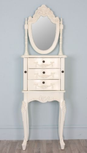 slim white dressing table