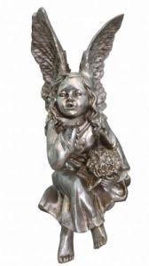 silver cherub statue