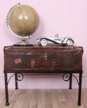 leather trunk with legs