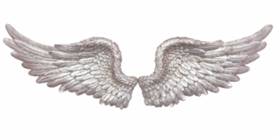 silver angel wings wall art