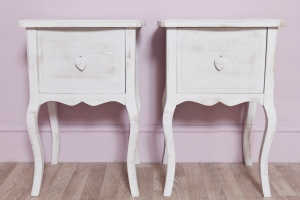 distressed heart bedside pair
