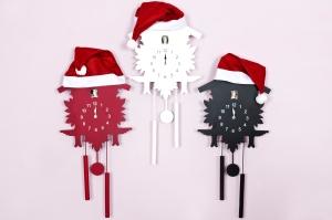 3 cuckoo clocks santa hats
